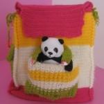 pandalı rengarenk örgü çocuk sırt çantası modeli