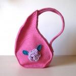 pembe çiçekli örgü çocuk sırt çantası modeli
