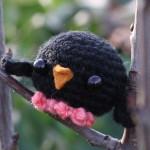 pembe ayaklı siyah örgü kuş modeli
