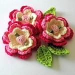 pembe beyaz örgü çiçek modelleri