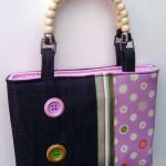 pembe düğmeli kumaş çanta modeli