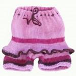 pembe fırfırlı örgü kız bebek pantolonu