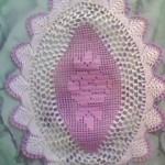 pembe gül motifli dantel tepsi örtüsü