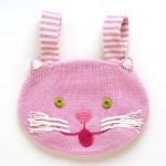 pembe kedi desenli örgü sırt çantası modeli