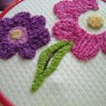 pembe mor çiçekli punch nakışı modeli