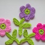 pembe mor örgü küçük çiçek modelleri
