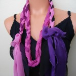 pembe mor saç örgülü kumaş kolye modeli