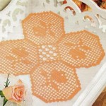 petek motifli turuncu dantel tepsi örtüsü
