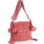 ponponlu pembe makrome sırt çantası modeli