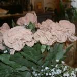 pudra rengi yeşil yapraklı örgü saksı çiçeği modeli