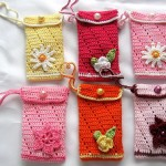 rengarenk çiçek desenli örgü telefon kılıfları