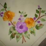 rengarenk çiçek işlemeli çin iğnesi nakışı