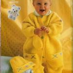 sarı örgü bebek tulumu ve şapkası