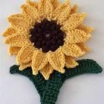 sarı ayçiçeği örgü çiçek modeli