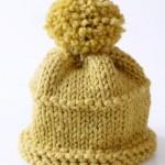 sarı büyük ponponlu bere modeli