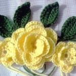 sarı güllü örgü çiçek modeli