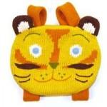 sarı kedicik desenli örgü çocuk sırt çantası modeli