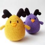 sarı mor sevimli örgü kuş modelleri
