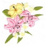 sarı pembe çiçek desenli çin iğnesi nakış modeli