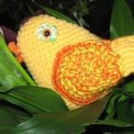 sarı sevimli örgü kuş modeli