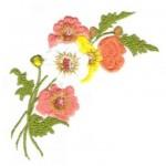 sarı turuncu çiçek işlemeli çin iğnesi nakış modeli