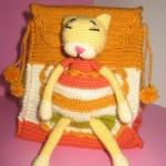 sarı turuncu panterli örgü çocuk sırt çantası modeli