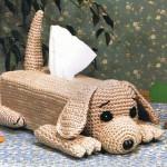 sevimli köpek görünümlü örgü peçetelik modeli