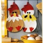 sevimli tavuklar desenli örgü tutacak modeli