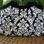 siyah beyaz desenli kumaş çanta modeli