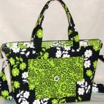 siyah yeşil desenli kumaş çanta modeli