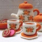 turuncu çay takımlı oyuncak amigurumi modeli