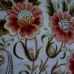turuncu çiçek desenli çin iğnesi nakış modeli