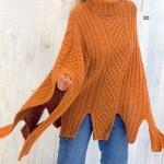 turuncu boğazlı örgü panço modeli