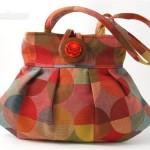 turuncu düğmeli kumaş çanta modeli