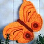 turuncu kelebek desenli örgü tutacak modeli
