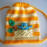 turuncu renkli örgü çocuk sırt çantası modeli