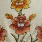 turuncu yaldızlı kumaş boyama örneği