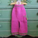 yüksek belli pembe örgü bebek pantolon modeli