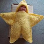 yıldız şeklinde örgü bebek tulumu