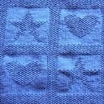 yıldız ve kalp motifli mavi örgü modeli