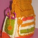 yan cepli rengarenk örgü çocuk sırt çantası modeli
