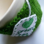 yeşil çay için örgü bardak kılıfı modeli