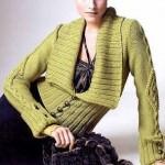 yeşil büyük yakalı abiye örgü ceket modeli