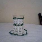 yeşil beyaz dantel bardak kılıfı modeli