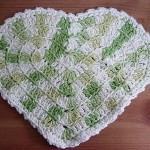 yeşil beyaz kalp desenli örgü lif modeli