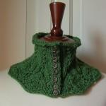 yeşil düğmeli örgü bayan boyunluk modeli