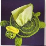 yeşil kaplumbağa desenli örgü peçetelik modeli