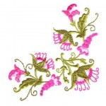 yeşil pembe çiçek desenli çin iğnesi nakışı