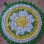 yeşil sarı renki örgü tutacak modeli