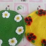 yeşil sarı yuvarlak örgü altlık modelleri